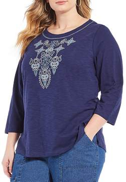 Allison Daley Plus Embroidered Puff Print Tee
