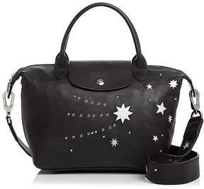 Longchamp Le Pliage Cuir Etoile Star Leather Satchel - 100% Exclusive - BLACK/SILVER - STYLE