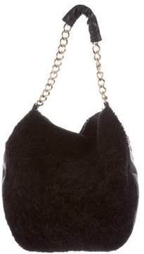 Clare V. Leather-Trimmed Shearling Hobo