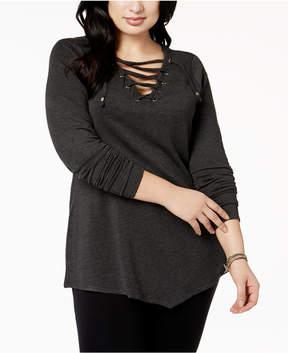 Belldini Plus Size Grommet Lace-Up Tunic
