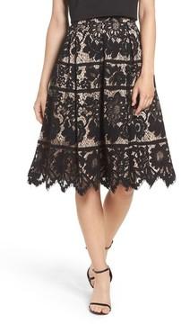 Eliza J Women's Pleated Lace Skirt