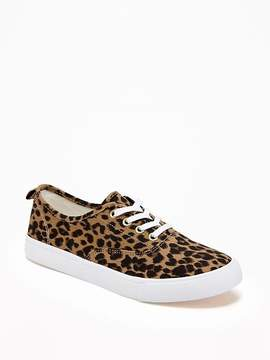 Old Navy Leopard-Print Twill Sneakers for Girls