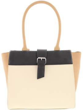 Nine West Womens Finian Faux Leather Colorblock Satchel Handbag
