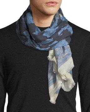 Eton Medallion-Print Wool-Blend Scarf