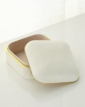 AERIN Cream Shagreen Square Box