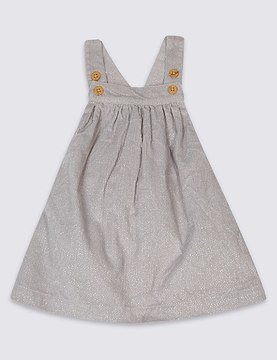 Marks and Spencer Glitter Pure Cotton Pinny Baby Dress