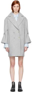 Carven Grey Ruffle Sleeve Coat