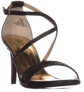 Thalia Sodi Ts35 Darria Cross Strap Evening Sandals, Black Metallic.