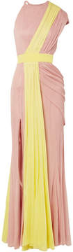 Cushnie et Ochs One-shoulder Draped Two-tone Silk-tulle Gown - Yellow