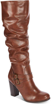 Style&Co. Style & Co Sophiie Wide-Calf Ruched Dress Boots, Created for Macy's Women's Shoes