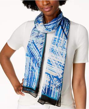 Calvin Klein Abstract Silk Chiffon Scarf, Created for Macy's