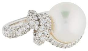 Mikimoto 18K Pearl & Diamond Knot Ring