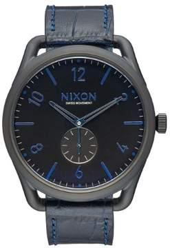 Nixon C45 Leather A465-2153 Black/Navy Gator Leather Analog Quartz Men's Watch