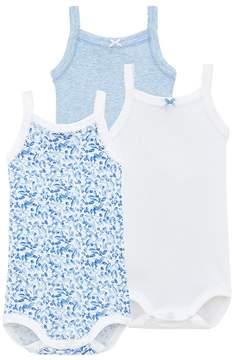 Petit Bateau Set of 3 baby girls bodysuits with straps.