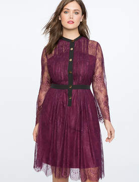 ELOQUII Lace Pleat Front A-Line Dress