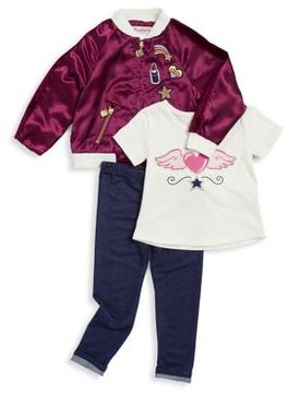 Flapdoodles Little Girl's Three-Piece Embroidered Patch Bomber Jacket, Tee & Pants Set