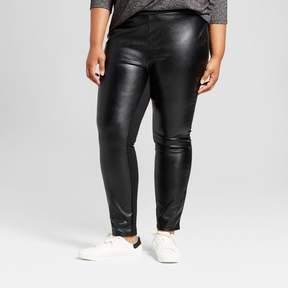 Ava & Viv Women's Plus Size Faux Leather Cropped Pants Black