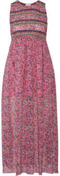 Anna Sui Smocked Printed Silk-georgette Midi Dress - Pink