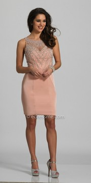 Dave and Johnny Sleeveless Sparkling Pearl Embellished Fitted Cocktail Dress