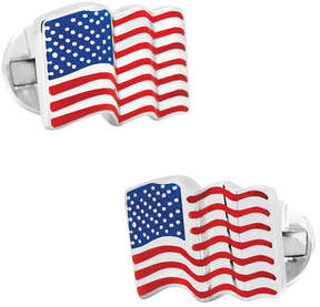 Ox & Bull Trading Co. Men's Sterling Silver Waving American Flag Cufflinks