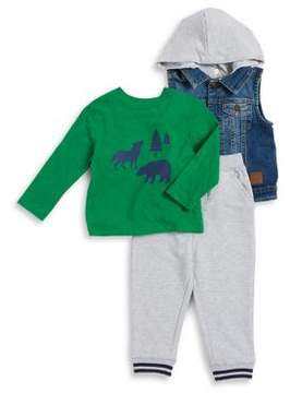 Little Me Baby Boy's Three-Piece Denim Vest, Cotton Tee and Heather Pants Set