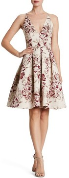 Dress the Population Women's Collette Metallic Jacquard Dress