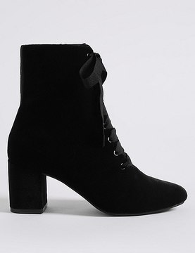 Marks and Spencer Block Heel Side Zip Lace-up Ankle Boots
