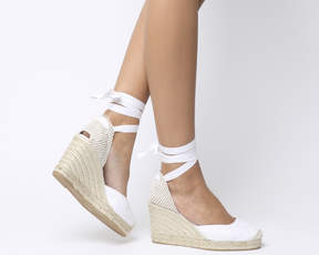 White Canvas Espadrille Wedges