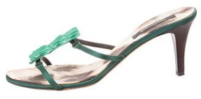 Roberto Cavalli Embossed Leather-Trimmed Satin Sandals