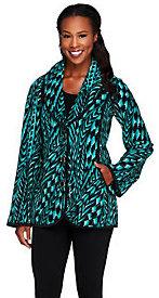 Bob Mackie As Is Bob Mackie's Feather Printed Fleece Shawl Collar Jacket