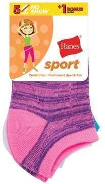 Hanes Sport No Show Socks, 4 + 1 Bonus Pack (Little Girls & Big Girls)