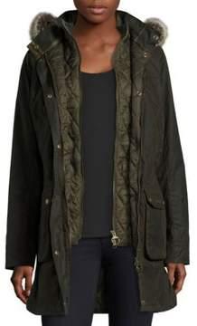 Barbour Waxed Cotton Faux Fur Jacket