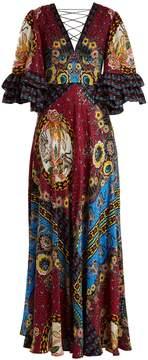 Etro Jungle-print V-neck silk-satin gown