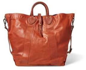 Ralph Lauren New Vtg Calfskin Tote Distressed Brown One Size