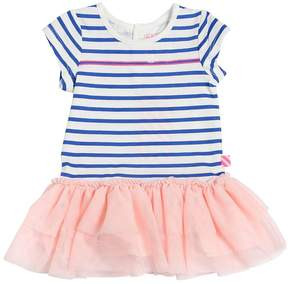 Billieblush Striped Cotton Jersey & Tulle Dress