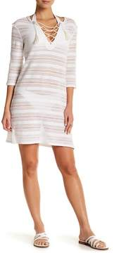 Letarte Lace-Up Semi Sheer Cover-Up Dress