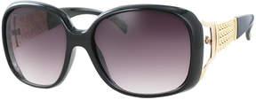 Kay Unger Black Jackie Oversize Round Sunglasses