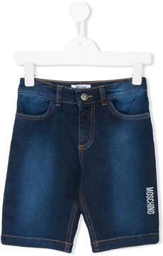 Moschino Kids logo print denim shorts