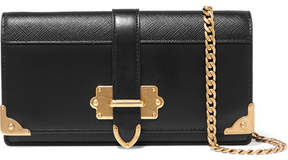 Prada Cahier Smooth And Textured-leather Shoulder Bag - Black