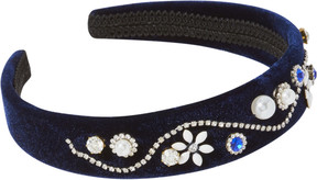 Scunci Navy Velvet Headband With Diamonds/Pearls