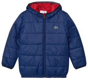 Lacoste Navy and Red Reversible Hooded Puffer