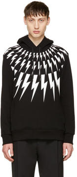 Neil Barrett Black and White Fairisle Thunderbolt Hoodie