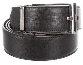 Fendi Silver-Tone Buckle Leather Belt
