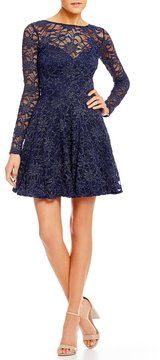 B. Darlin Bow Back Glitter Lace Fit and Flare Dress