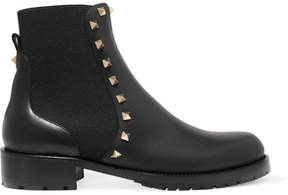 Valentino Rockstud Leather Chelsea Boots - Black