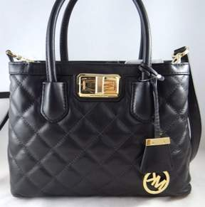 Michael Kors Hannah Black Quilted Leather Small Convertible Satchel Bag - BLACK - STYLE