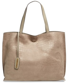 Street Level Reversible Textured Faux Leather Tote - Beige