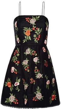 Alice + Olivia Alice Olivia - Launa Lace-trimmed Embroidered Velvet Mini Dress - Black