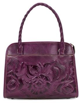 Patricia Nash Floral Embossed Small Leather Satchel