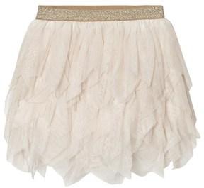 Mayoral Beige Glitter Petal Tulle Skirt
